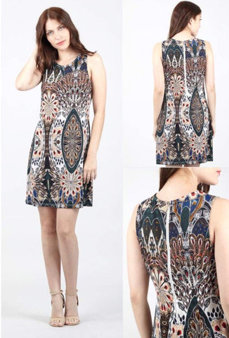 Sleeveless Peacock Print Midi Dress