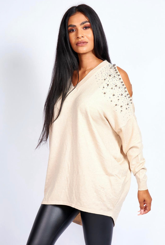 Cream cut out shoulders jumper with beads and diamontes