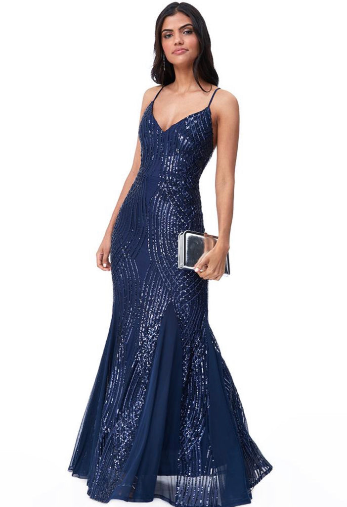 Navy Spaghetti Strap Maxi Dress With Sequin Detail