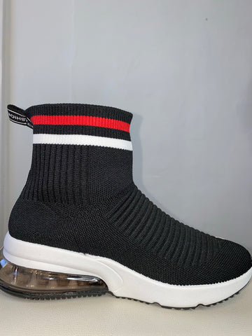 Black sock boots with red band