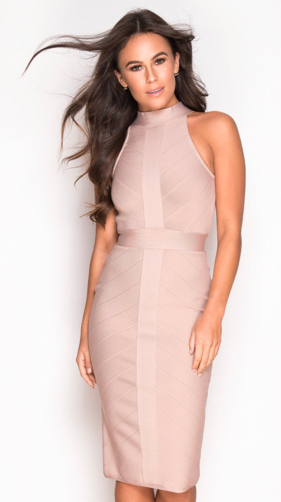 Light Pink Bandage High Neck Dress