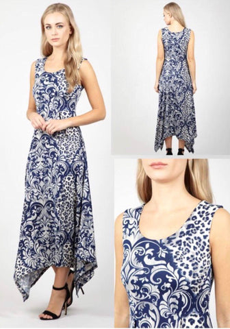 Navy Maxi Style Dress With Cream Floral and Leopard Print Pattern