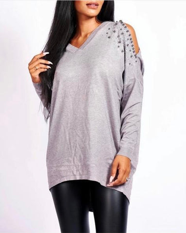 Grey cut shoulder jumper with pearls