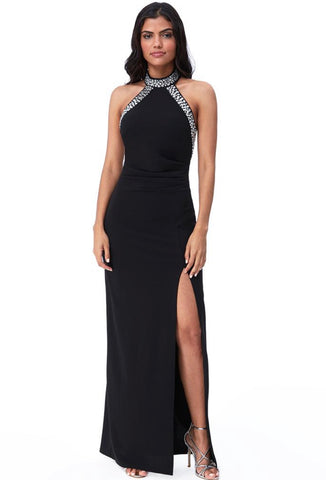 Black High Neck Maxi Dress With Split and Gem Detail on Neck