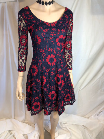 Navy and Red Lace Dress