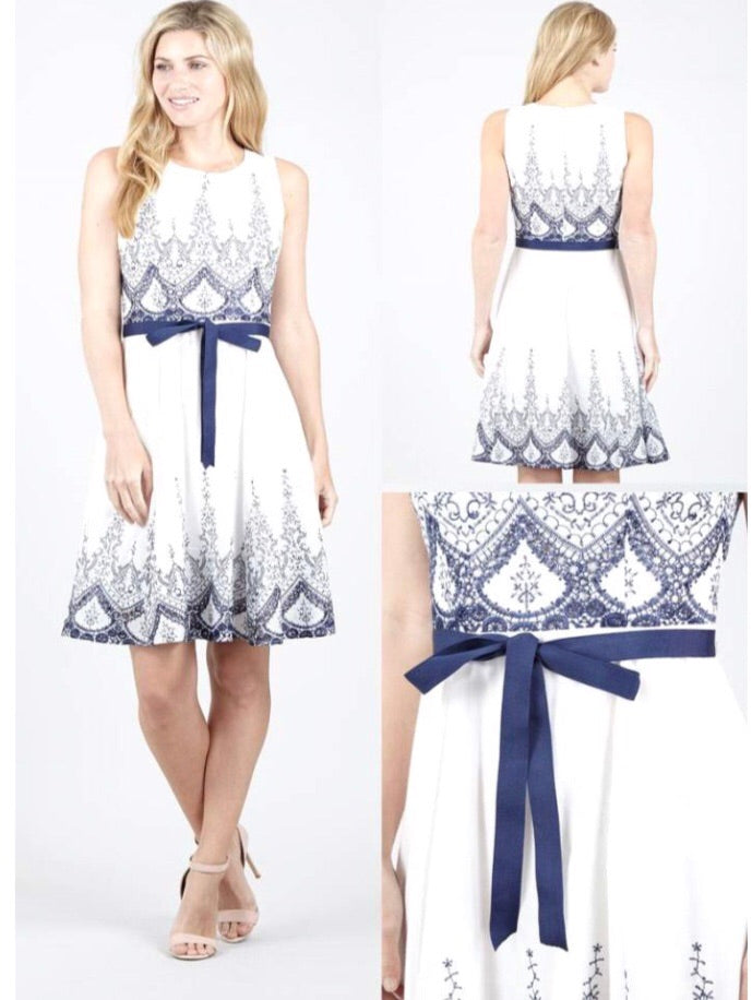 White and navy Summer dress