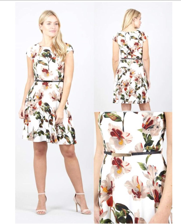 White Midi Dress with Floral Pattern and Belt