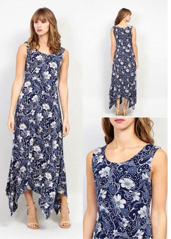 Sleeveless Navy and White Patterned Maxi Dress