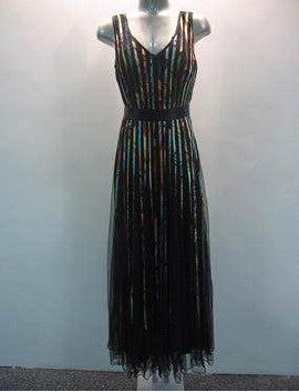 Multi Coloured Pleat Maxi Dress