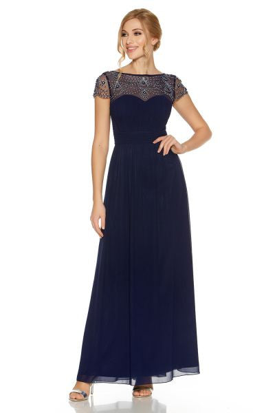 Navy Embroidered Cap Sleeve Maxi Dress