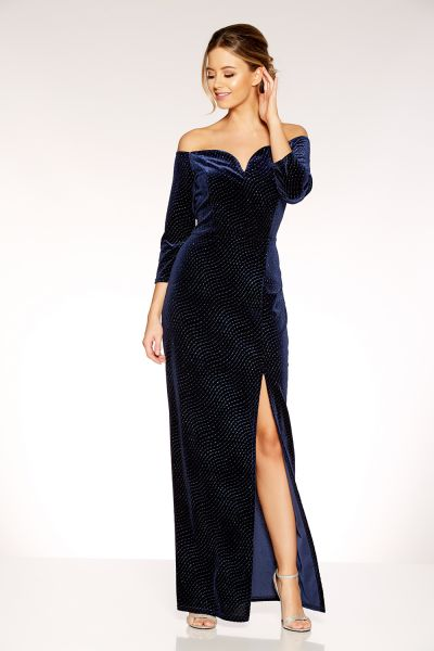Navy Velvet Glitter Bardot Maxi Dress