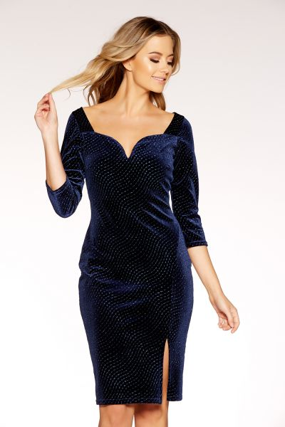 Navy Velvet Glitter V Bar Bodycon Dress