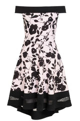 Pink And Black Floral Print Bardot Dress