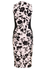 Pink And Black Flower Print Bodycon Dress