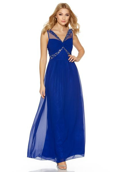 Royal Blue Chiffon Embellished Maxi Dress