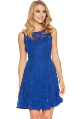 Royal Blue Sequin Lace Skater Dress