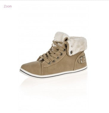 Khaki Fur Hi-Top Trainers