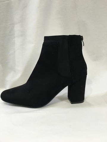 Black Suede Elastic Heeled Boots
