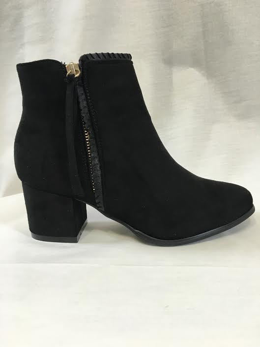 Black Suede Zip Detail Heeled Boots