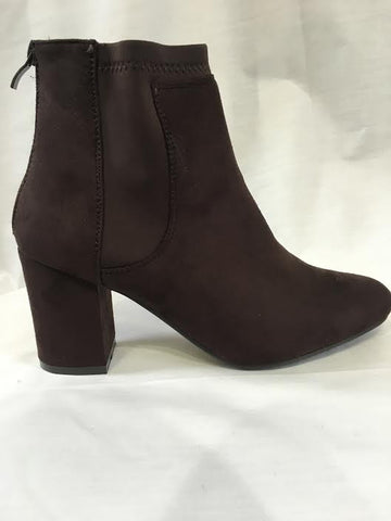Brown Suede Elastic Heeled Boots