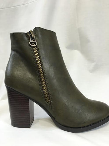 Khaki Leather Zip Detailed Boots