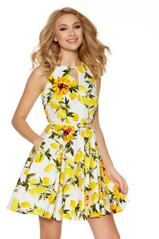 White And Lemon Printed Skater Dress