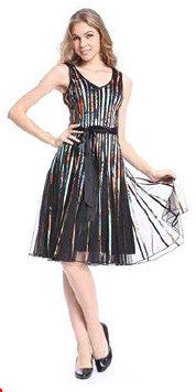 Multicoloured Mesh Pleat Belt Dress