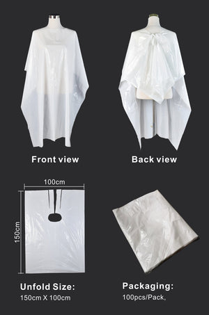 Disposable Gown Cape for Salon and Barber Clients 50 pack - Chroma Gel