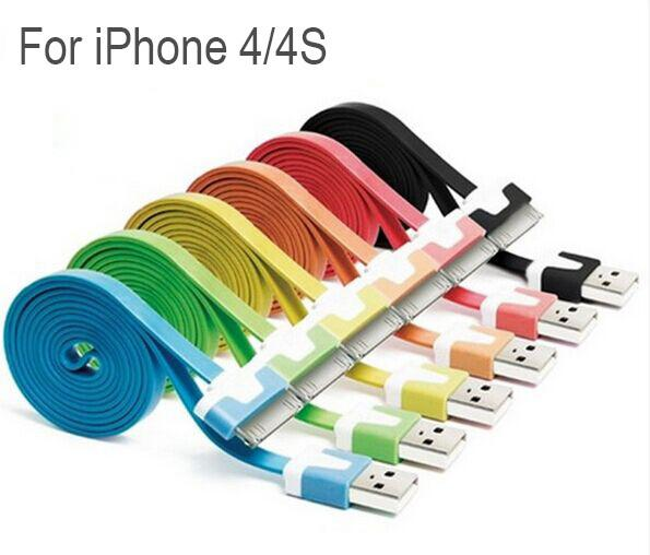 1M 2M 3M Durable Flat USB Cable Wire Charging USB Sync Data Cables Cord For Iphone 4 4S iPad 2 3