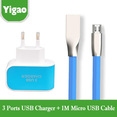 2 IN 1 2.1 A Zinc Alloy Micro USB Male Data Sync Charging Cable+3 usb charger Adapter for Samsung HTC Nokia Huawei Charger Cable