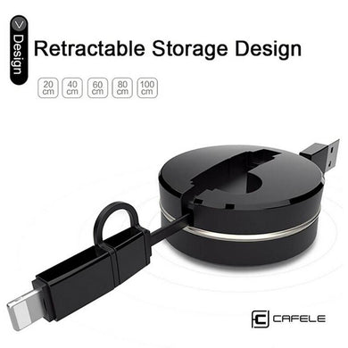 2 in 1 CAFELE Retractable USB Fast Charging Cable USB For iPhone 6 6s 7 Plus Micro USB Cable for Android Phones Samsung LG