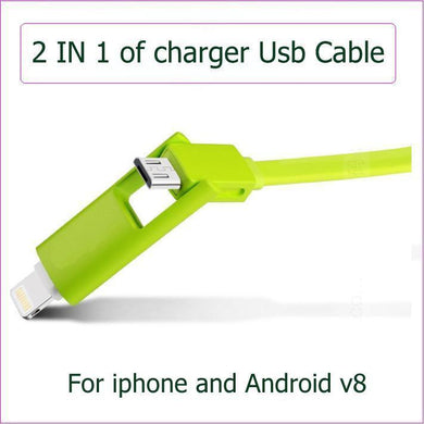 2 in 1 Highspeed Micro USB cable for apple iphone and Asus Nokia all of Android cell phone date sync charger cable with LED ligh