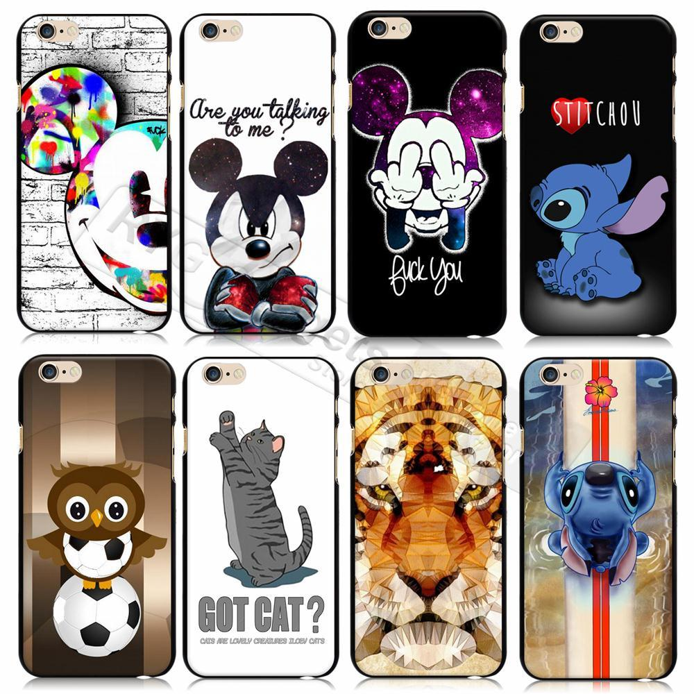 2015 New Cartoon Animals For iphone 6 6S Case Cover Tiger Mickey Stitch Hard Back Coque for Apple iphone 6s 6 4.7'' Fundas