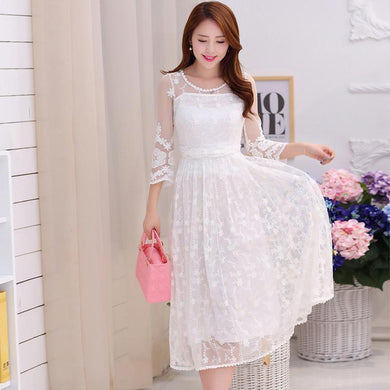 2016 Embroidered Midi Long White Holidays Beach Dress Women Summer White Lace Dress Chiffon