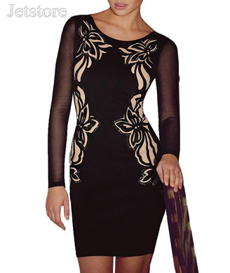 2016 Fashion Elegant Dress Women Long Sleeve Flower Printed Bandage Dress Sexy Black Casual Sequined Bodycon Office Dress 8 5541