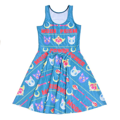 2016 Fashion New Arrival Women Dress Digital Print BLUE MOON PRISM POWER Dress Sleeveless Beach DRESS Vestidos
