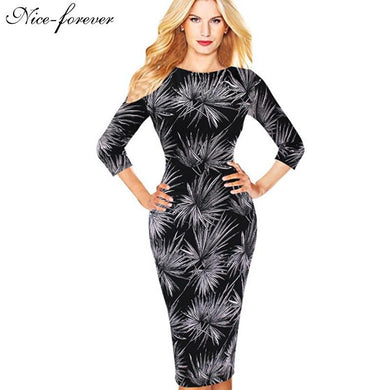 2016 Floral Work Dress Elegant Print 3/4 Sleeve Women Fashion Sheath Black Pencil Bodycon Female Formal Vintage Dress b283