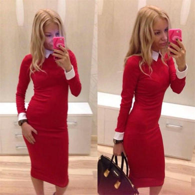 2016 Hot European Spring Winter Lapel Long Sleeve Midi Dress Women Casual Sexy Bodycon Slim Office Party Dresses Vestido OL Red