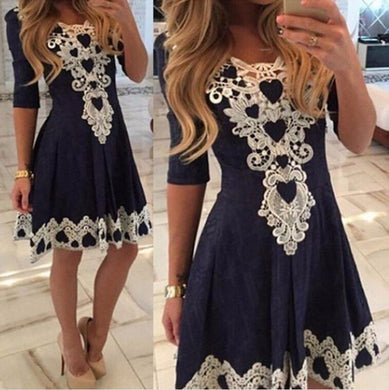 2016 Hot Sale Vestido De Festa Womens Evening Party Dresses V Collar Half Sleeve Sexy Casual Woman Lace Dress vestidos femininos