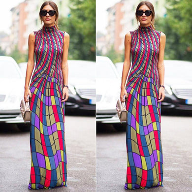 2016 New arrive famous brand sleeveless long dress sexy print dresses novelty bandage dress W1618