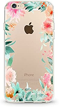 Coque Iphone 6 6S Fleur 14 personnalisee rose transparent