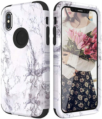 Coque Bumper en marbre pour iPhone 7 6 6S 8 Plus Coque Rigide en Silicone  pour iPhone X XS Max XR 360 Mignon 3 en 1 for iPhone 7 Noir
