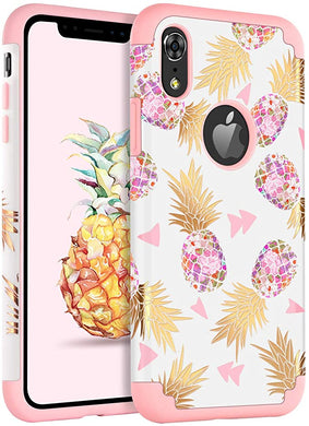 Dailylux Coque iPhone XREtui iPhone XRMotif Ananas Slim Hybride Dur PC  Couverture Silicone Souple Étui de Protection Antichoc Antichoc Filles  Femmes Pare-Chocs iPhone XR 6.1 Pouces 2018Noir
