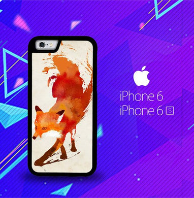 Watercolor art orange red fox animal F0246 coque iPhone 6, iPhone 6S