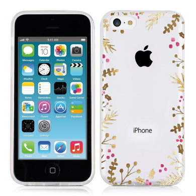 Coque Iphone 5 5S SE Fleur noel rose doré transprente