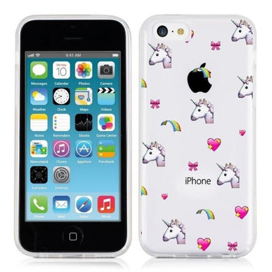 Coque iphone 5 5S SE licorne coeur unicorn cute kawaii transparente