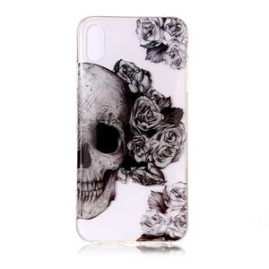 coque iphone xs max crâne blanc