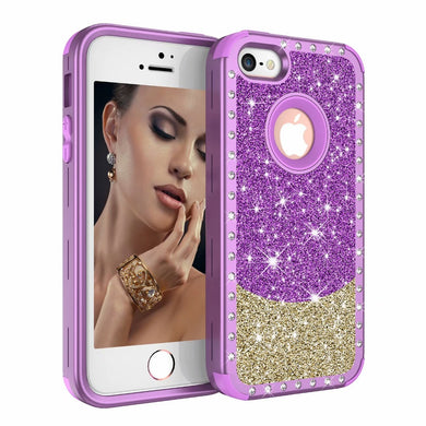 Coque Iphone 5 5S SE glitter paillettes dore fee papillon noir