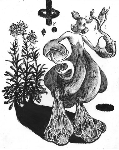 Black and white penned illustration by Malachi Lily