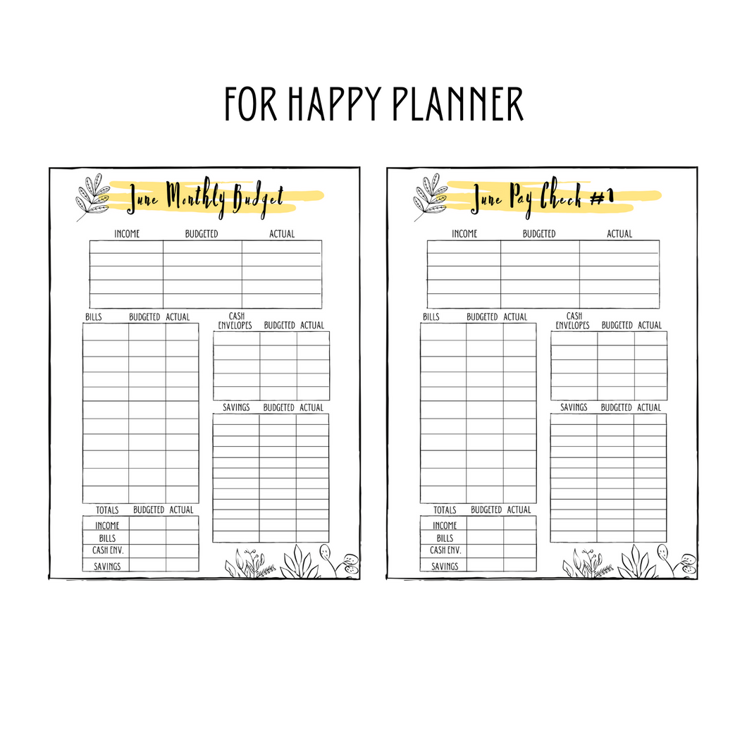 June Monthly Classic Happy Planner Budget Planner Printable